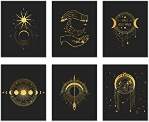 Occult Gold and Black Prints - Set of 6 (8x10) Glossy Wall Art Decor Alchemy - Witch - Devil -Third Eye - Planets