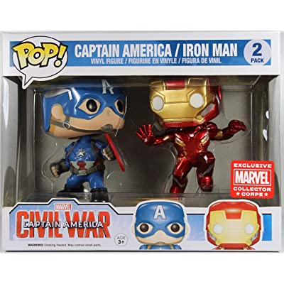 Marvel: Civil War - Captain America vs. Iron Man Collectors Corps 2 Pack Funko Pop! Vinyl Figure (Includes Compatible Pop Box Protector Case): Toys & Games