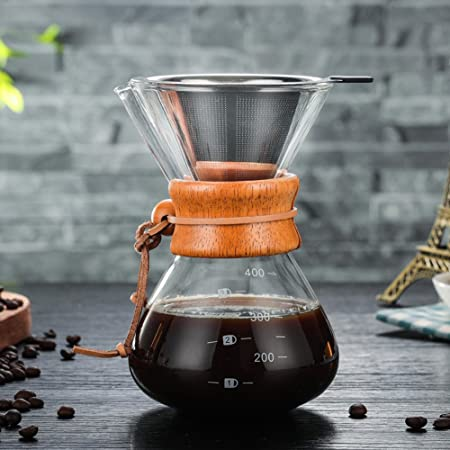 Leoie 400ML High Borosilicate Glass Coffeepot High Temperature Resistant Coffee Maker Durable