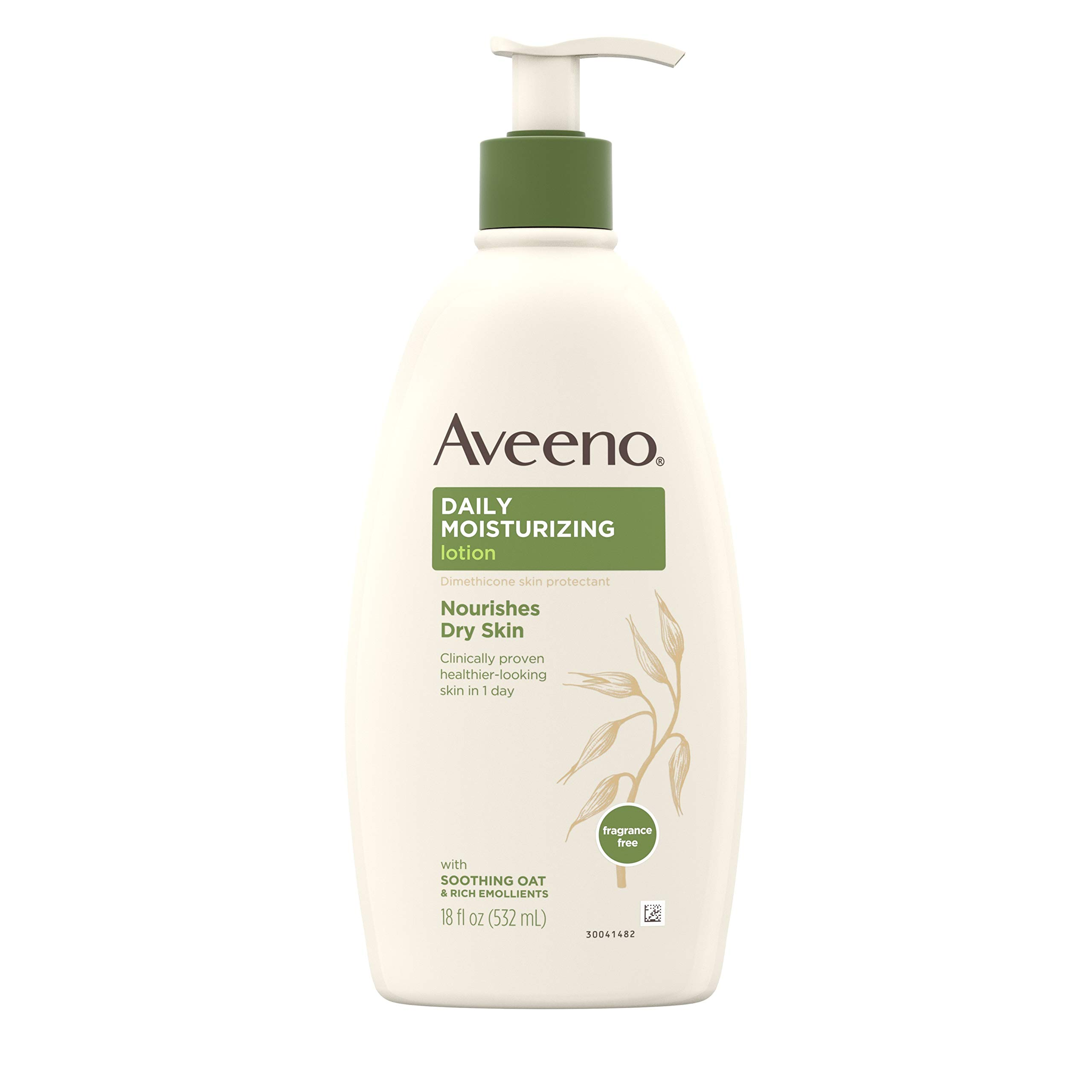 Aveeno Daily Moisturizing Body Lotion with Soothing Oat and Rich Emollients to Nourish Dry Skin, Gentle & Fragrance-Free Lotion is Non-Greasy & Non-Comedogenic, 18 Fl Oz