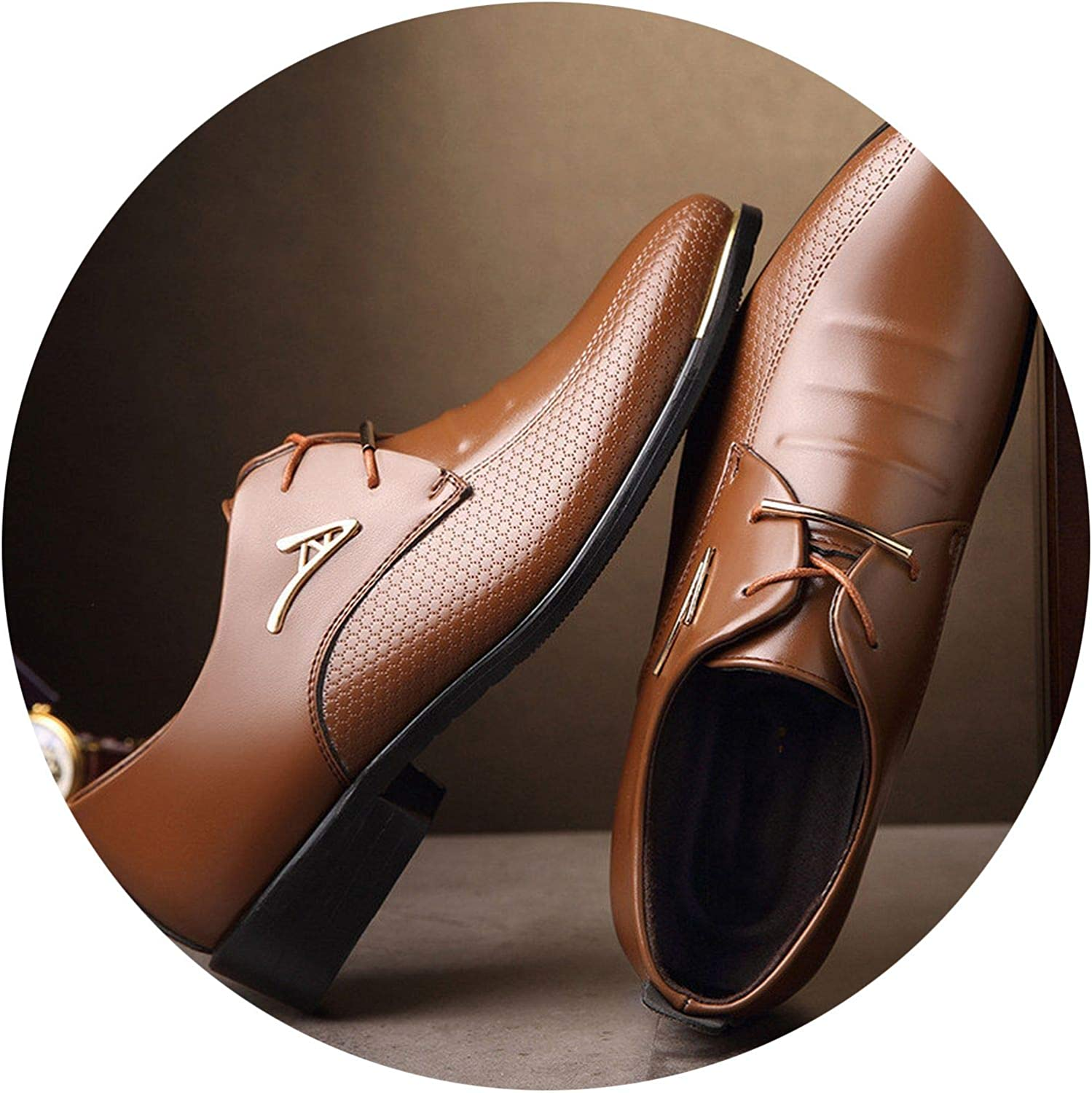 on Pointed Toe Lace Up Mens Business Casual Shoes Brown Black Leather Oxfords Flats 37-48