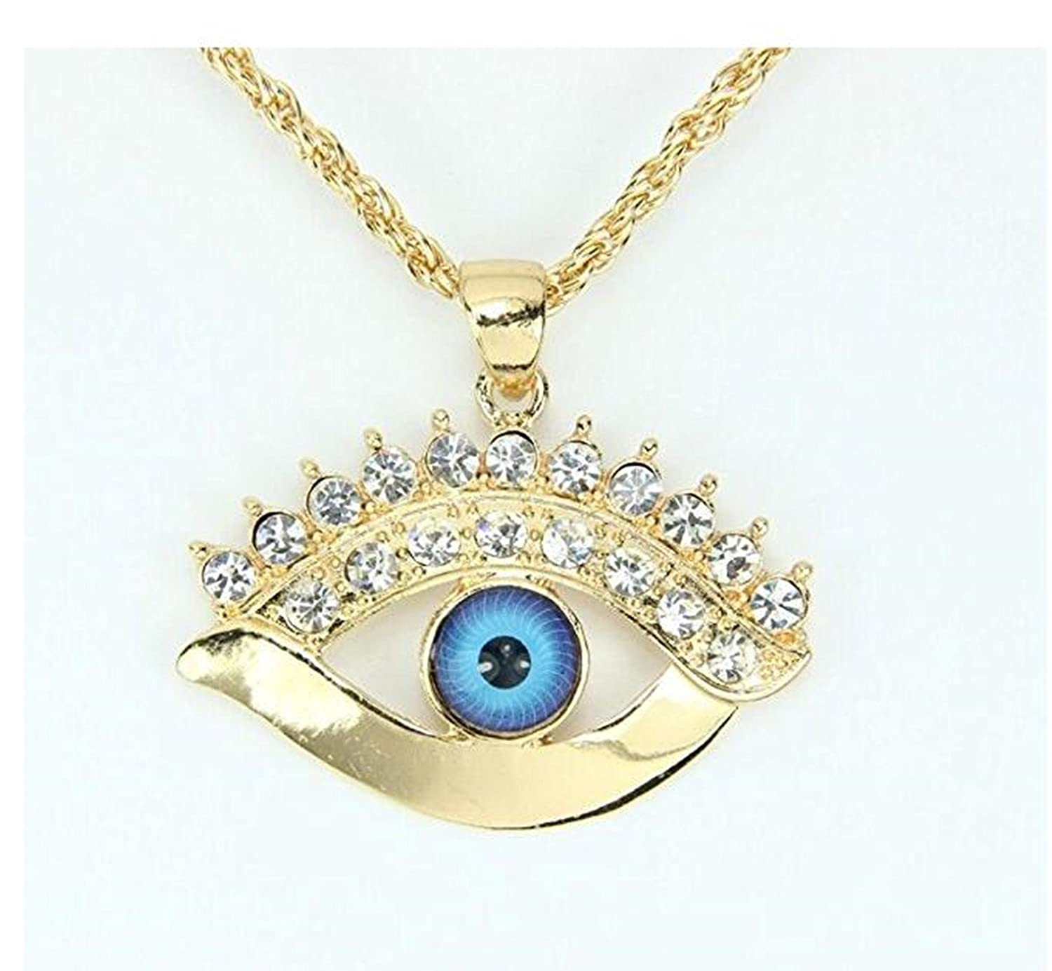 EV-12 Wiipu golden evil eye Pendant Necklace with blue eye,good luck necklace