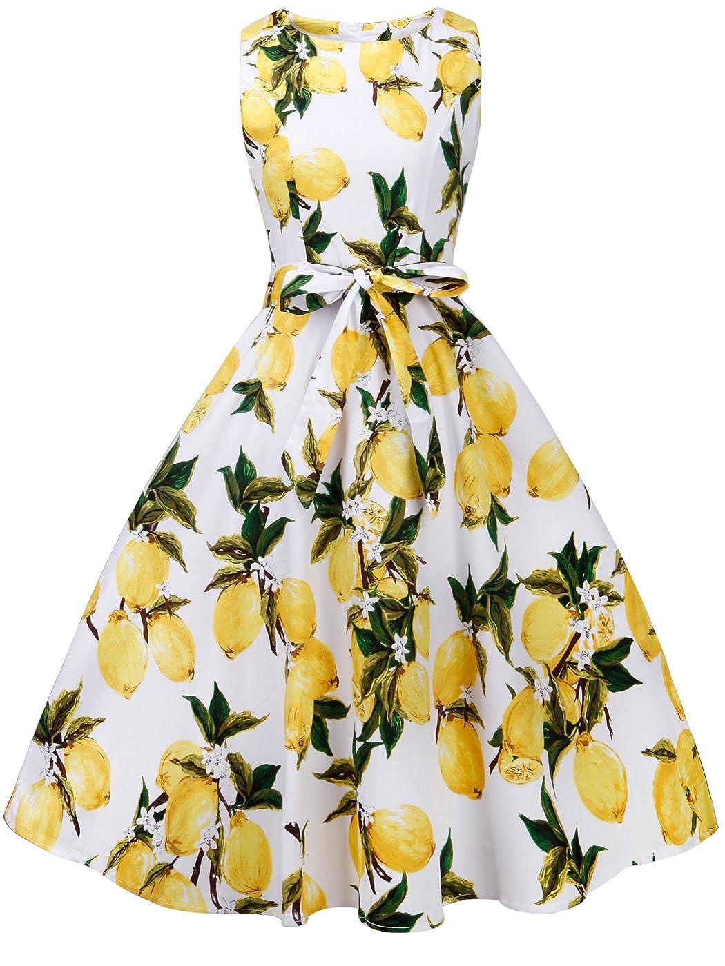 TALLA L. FAIRY COUPLE 50s Vestido de Partido Floral Retro del Oscilación del Cóctel del Vintage con el Arco DRT017 Frutas Amarillas Blancas