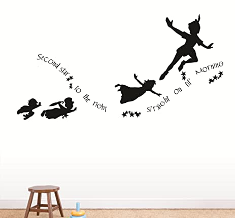 Second Star To The Right Peter Pan Flying Nursery Kids Daycare Love Wall  Peel U0026 Stick Part 50