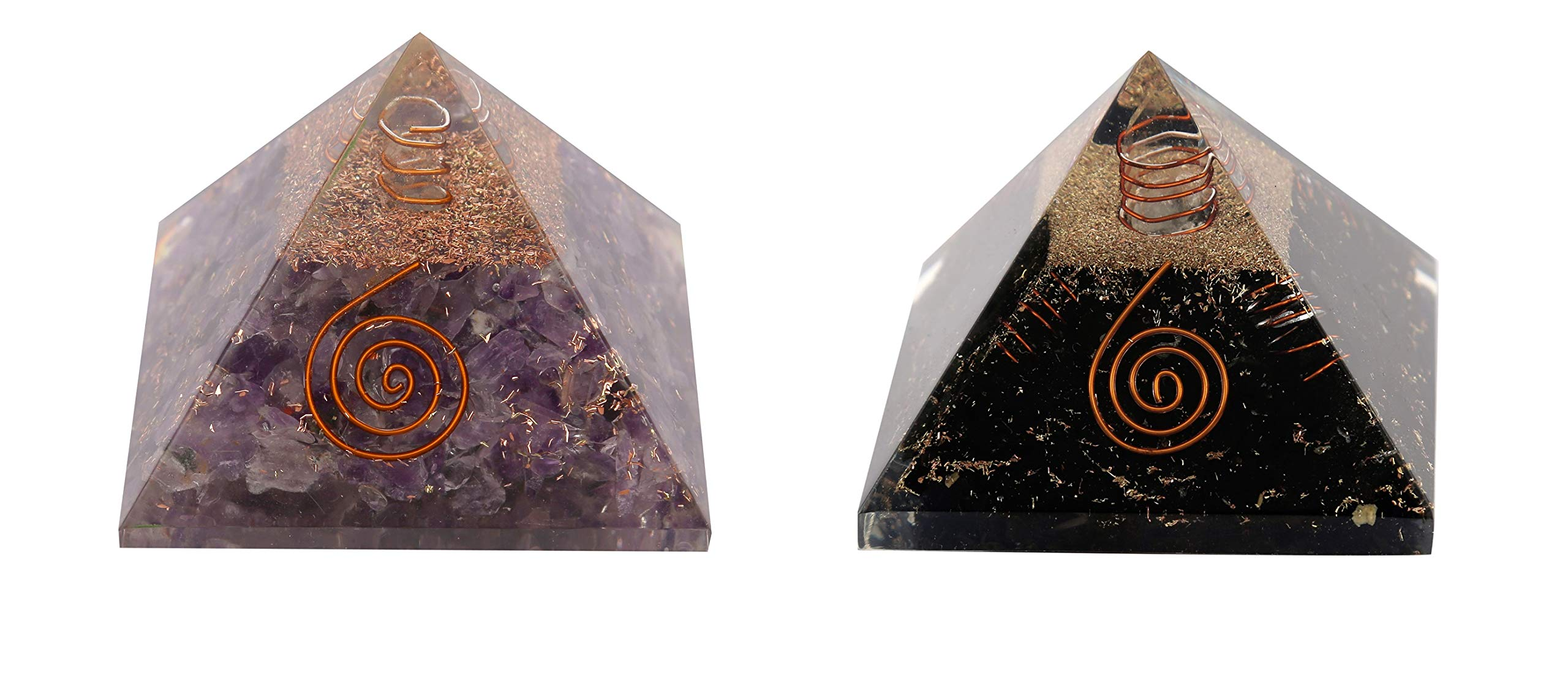 Aatm Amethyst & Black Tourmaline Combo Orgone Pyramid