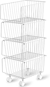 Rolling Stackable Storage Bin, Modern 4 Tiers Basket with Pre-Installed Casters, Utility Storage Organizer for Pantry, Closets, Bedrooms (Gray)