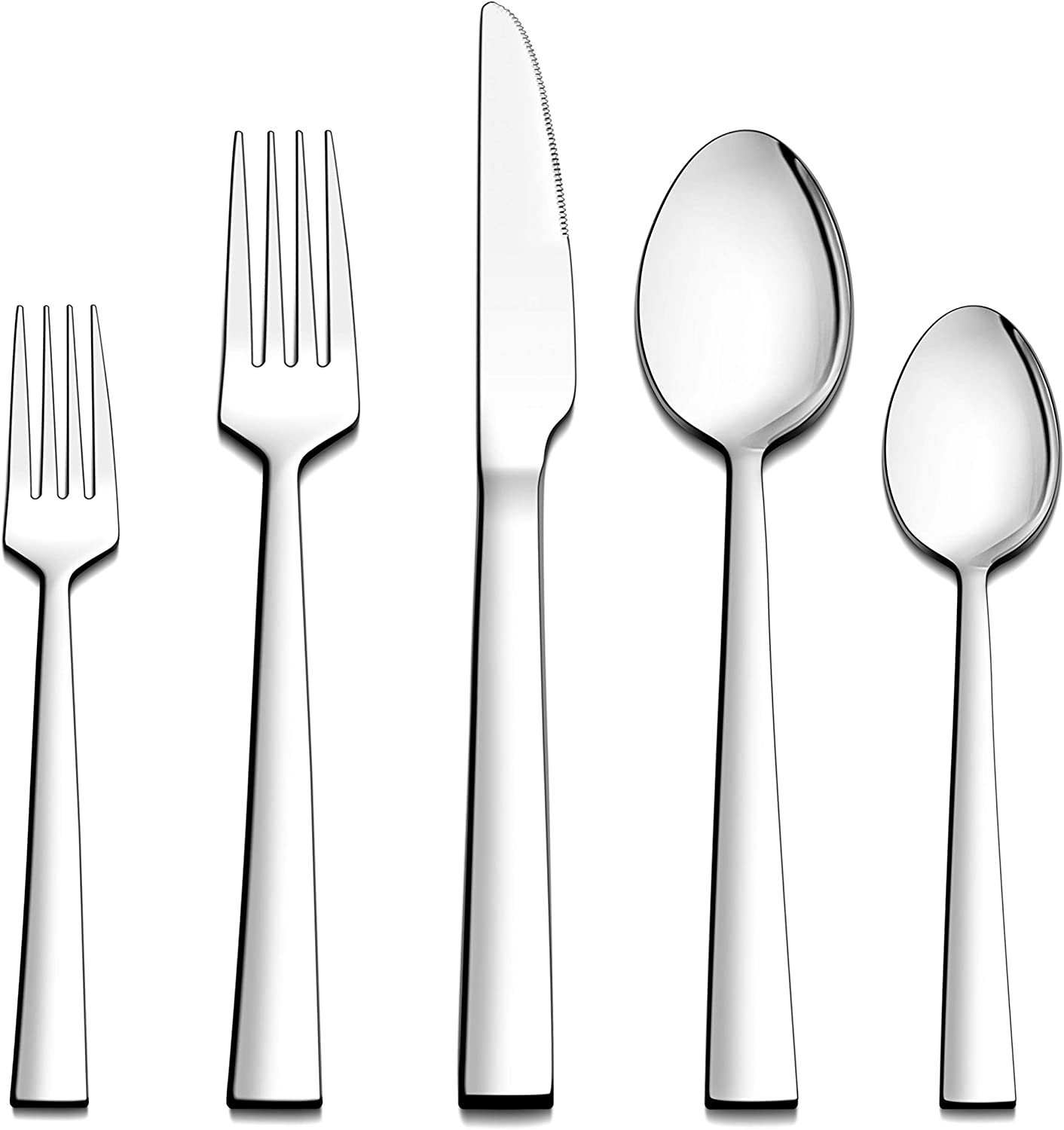 LIANYU 20-Piece Silverware Set, Stainless Steel Square Flatware Cutlery Set for 4, Eating Utensils Tableware Set, Mirror Finish, Dishwasher Safe