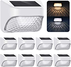 Solar Lights Outdoor Decorative, 8 Pack, Permanent On from Dusk to Dawn, 2 Modes: Warm White /Cool White, IP65 Waterproof Solar Powered LED Light for Fence Deck Step Yard Stair Garden, Wall Mount