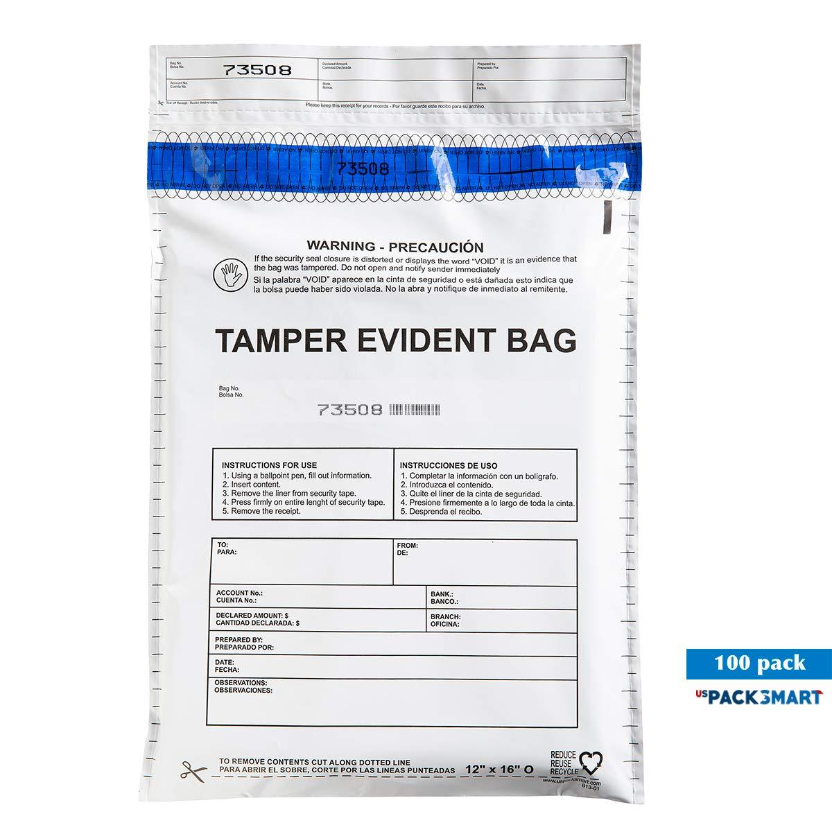 USPACKSMART Deposit Bags for Cash Handling or Bank Deposits, Level 5 of Security Tape. Size 12''x16'' Opaque (100 Bags x Package) Ref: 813-00 by USPACKSMART