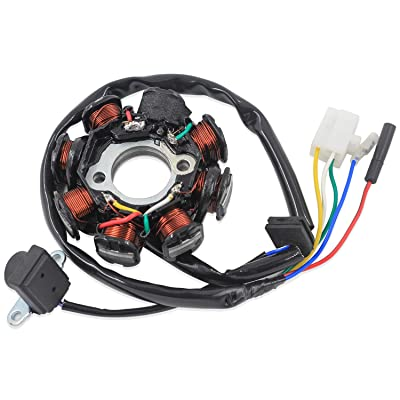 Trkimal Ignition Stator Magneto 5 wire AC 8 Pole Coil for GY6 49cc 50cc 80cc 125cc 150cc139QMB 147QMD 152QMI 157QMJ engine, GY6 Stator Fits for Scooter Moped ATV Dune Buggy Go Kart: Automotive