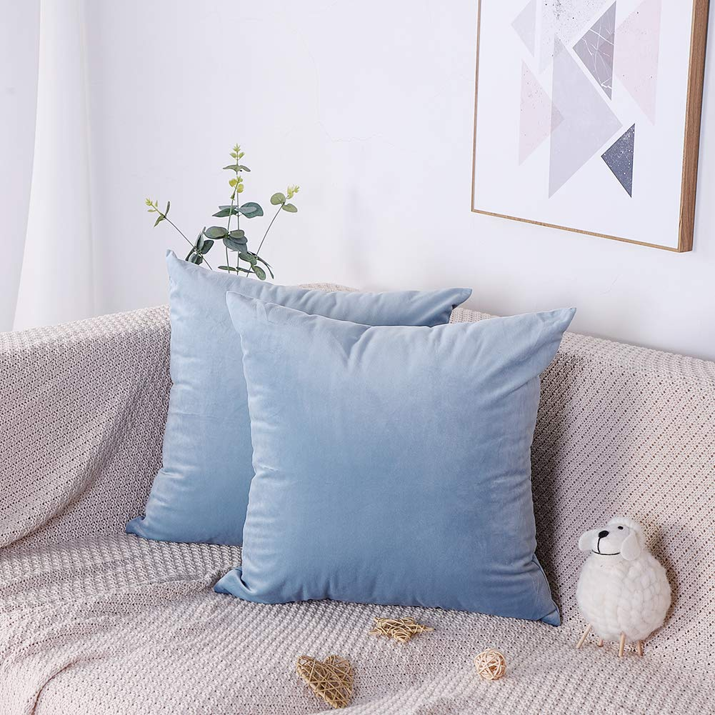 18in x 18in 45cm x 45cm Bedsure Velvet Cushion Cover 2 Pack Sky Blue Decorative Pillowcases for Sofa and Couch