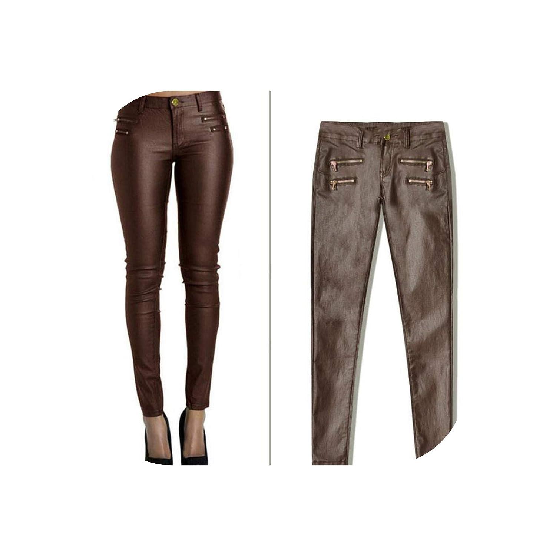 Brown Faux Leather Pants Women Elastic Zipper Leather Pants Trousers Leren Broeken,