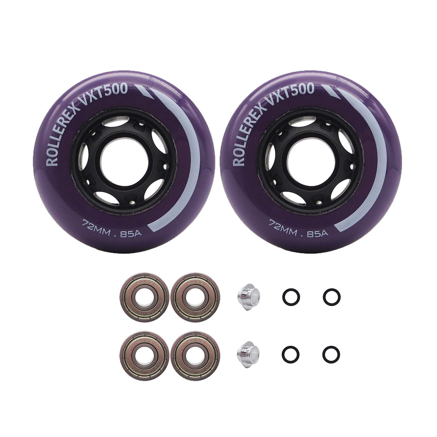 Rollerex VXT500 Inline Skate Wheels (2-Pack w/Bearings, spacers and washers) (Royal Purple, 72mm) by Rollerex