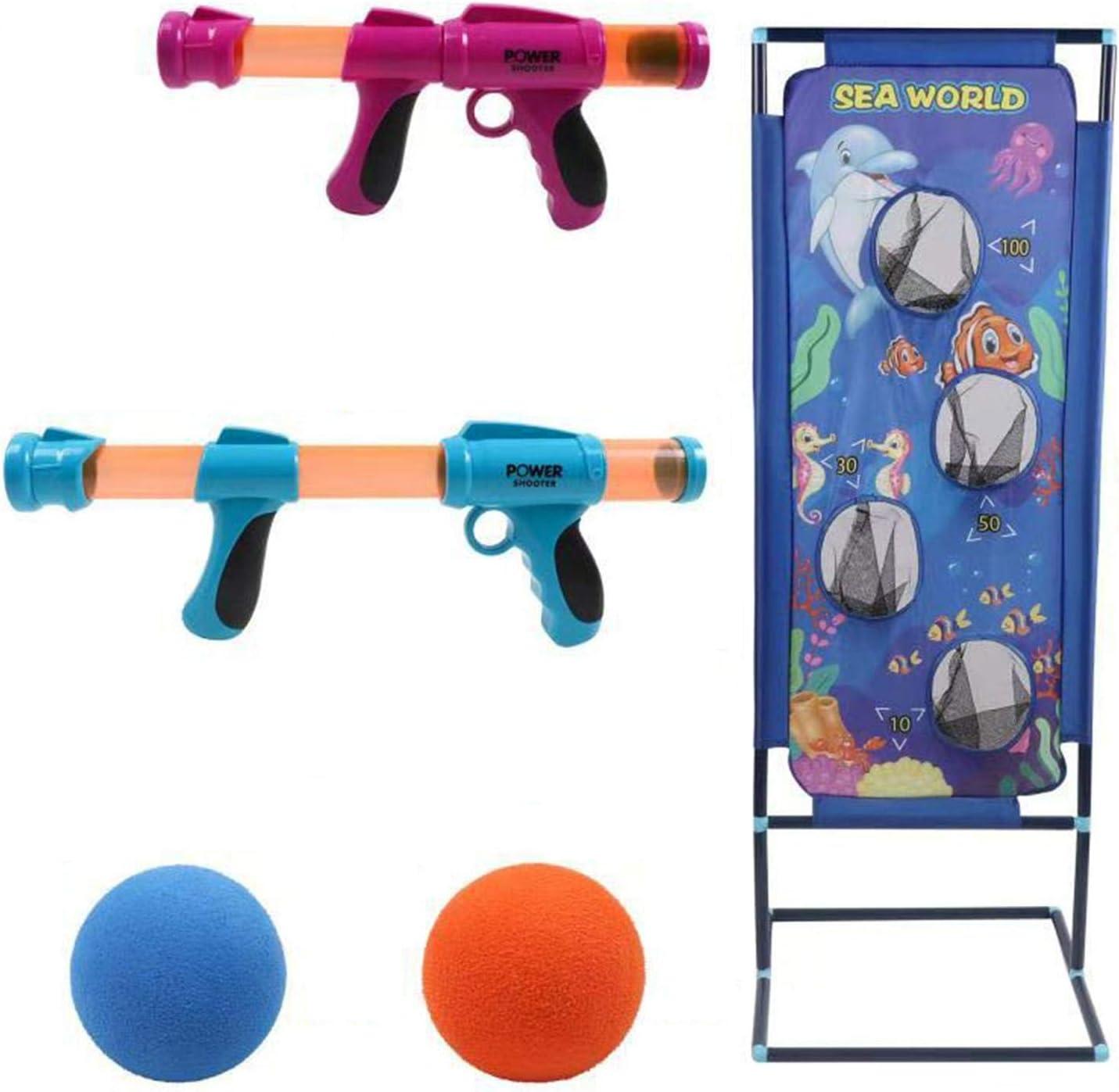 Pistolas de juguete con motor neumático, juegos de disparos, pistolas de espuma y objetivos de tiro, pistola de juguete para 2 jugadores con bolas de espuma EVA, no requiere batería, para juegos