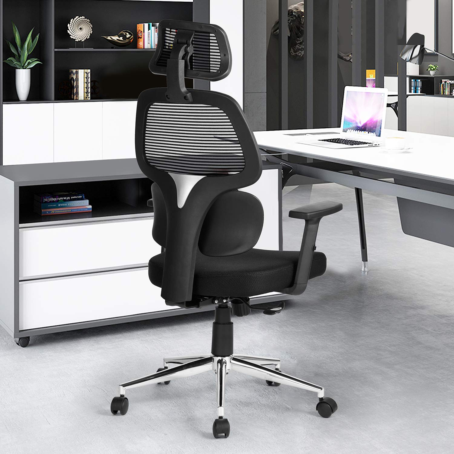 Update Ergonomic Office Chair Mesh Computer Desk Chair with Lumbar Support Adjustable Backrest Headrest Armrest High Back Swivel Task Executive Chairs for Home Office Conference Black /…