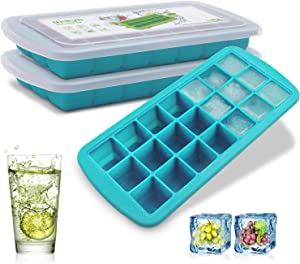 Ice Cube Trays 2 Pack , CREATESTAR Easy-Release Silicone & Flexible 21-Ice Trays with Removable Lid Food Grade Ice Tray for Whiskey, Cocktail, Spirits Drinks, Ice Cube Molds BPA Free (Blue, 2Pack)