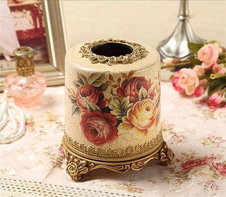 ZWZT redondo rodillo toalla adornos de resina caja de pañuelos tubo hogar salón comedor bandeja de