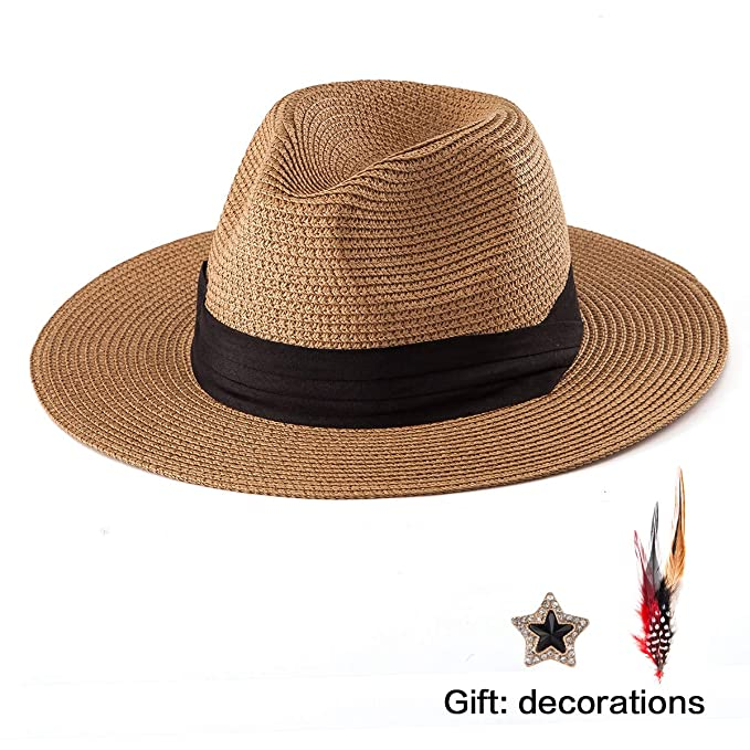 b4ed261473e Men Fedora Hats for Women - Unisex Panama Hat Khaki Straw Hat Wide Brim Sun  Hat