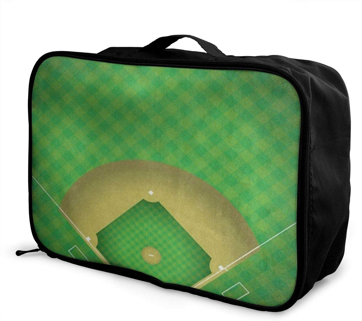 Travel Bags Green Baseball Ball Portable Suitcase Special Trolley Handle Luggage Bag