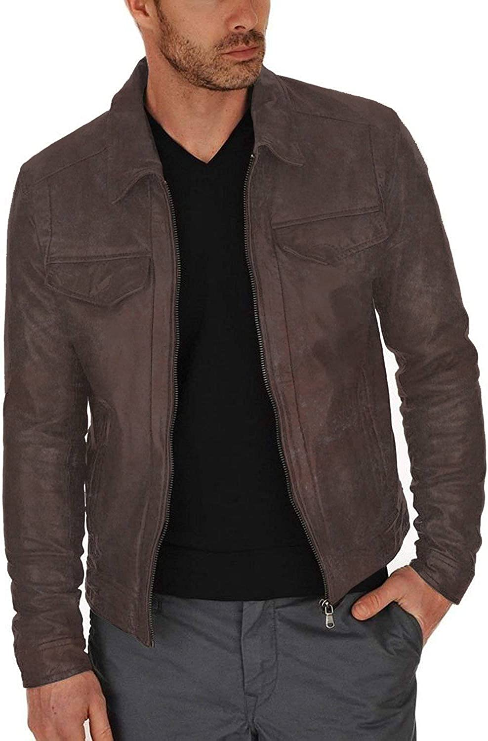 Lasumisura Mens Black Genuine Lambskin Leather Jacket 1510350