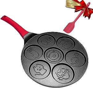 Pancake Maker - Griddle Pancake Pan Molds for Kids Nonstick Pancake Griddle Crepe Pan with 7 Animal Shapes - Black