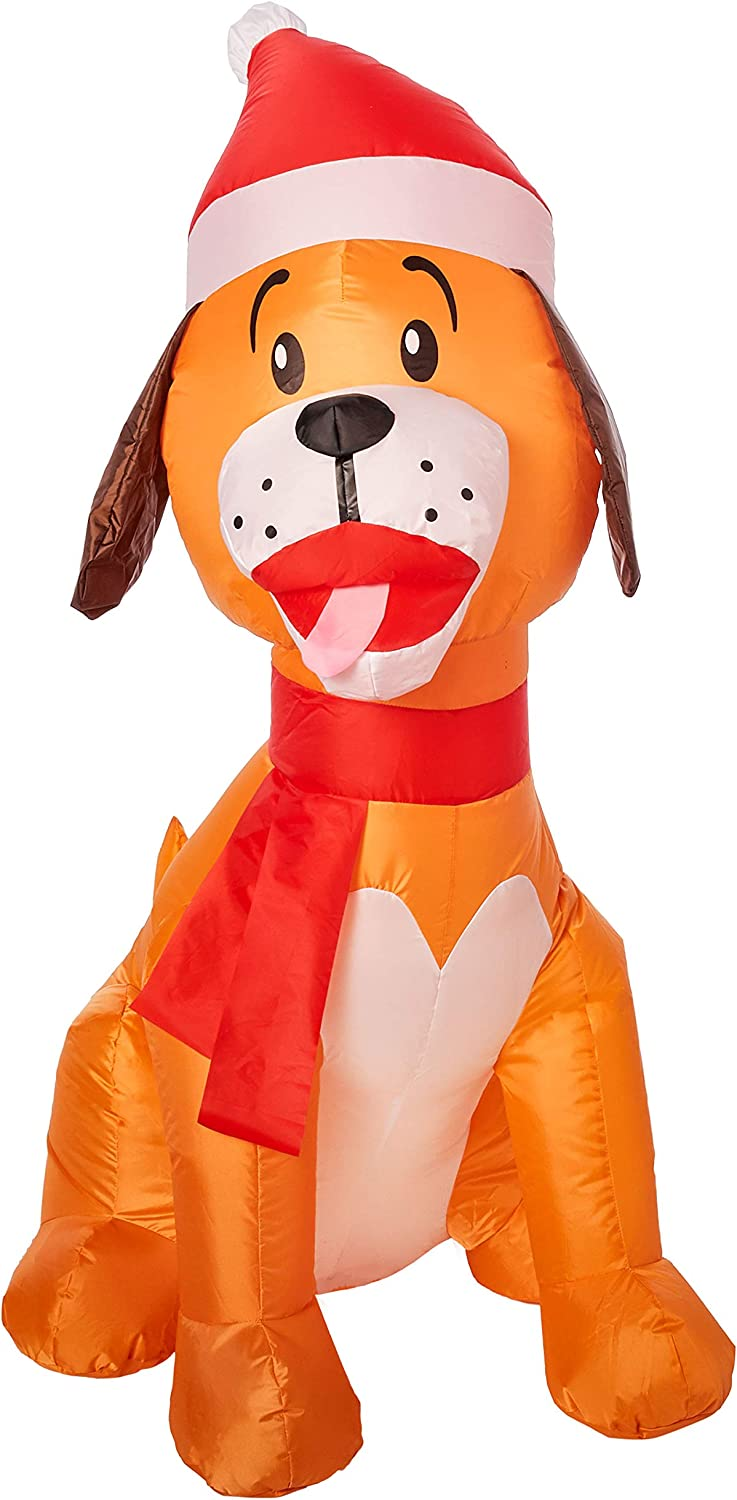 Gemmy Inflatable 3.5' Tall Darling Dog with Santa Hat Outdoor Holiday Decoration