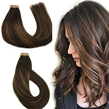 Amazon Com Labhair Tape In Hair Extensions Highlight Balayage Dark