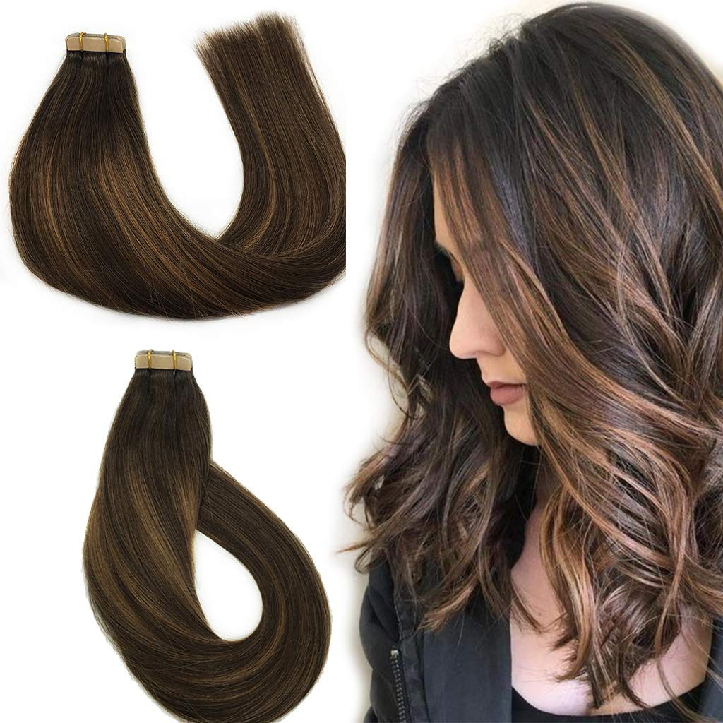 Amazon Labhair Tape In Hair Extensions Highlight Balayage Dark