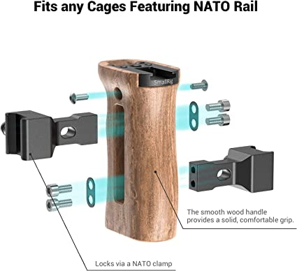 Mango lateral SmallRig de madera NATO con agujeros de montaje carril de la OTAN /& Zapato frío 2187