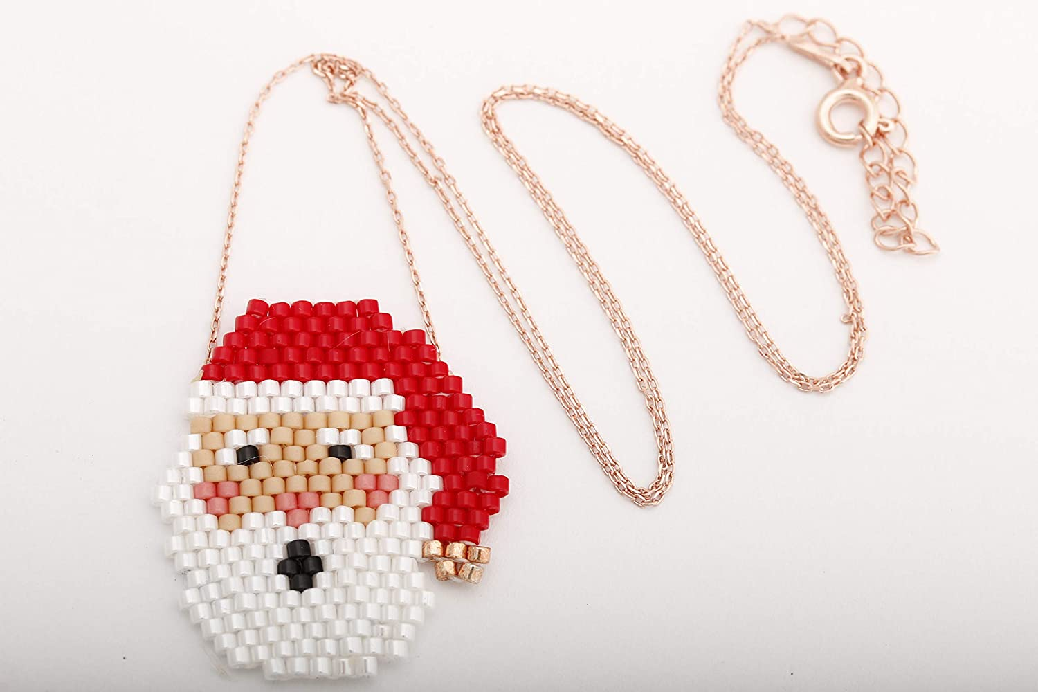 Turkish Handmade Jewelry Beaded Santa Claus 925 Sterling Silver Rose Gold Pendant Necklace Christmas Gift