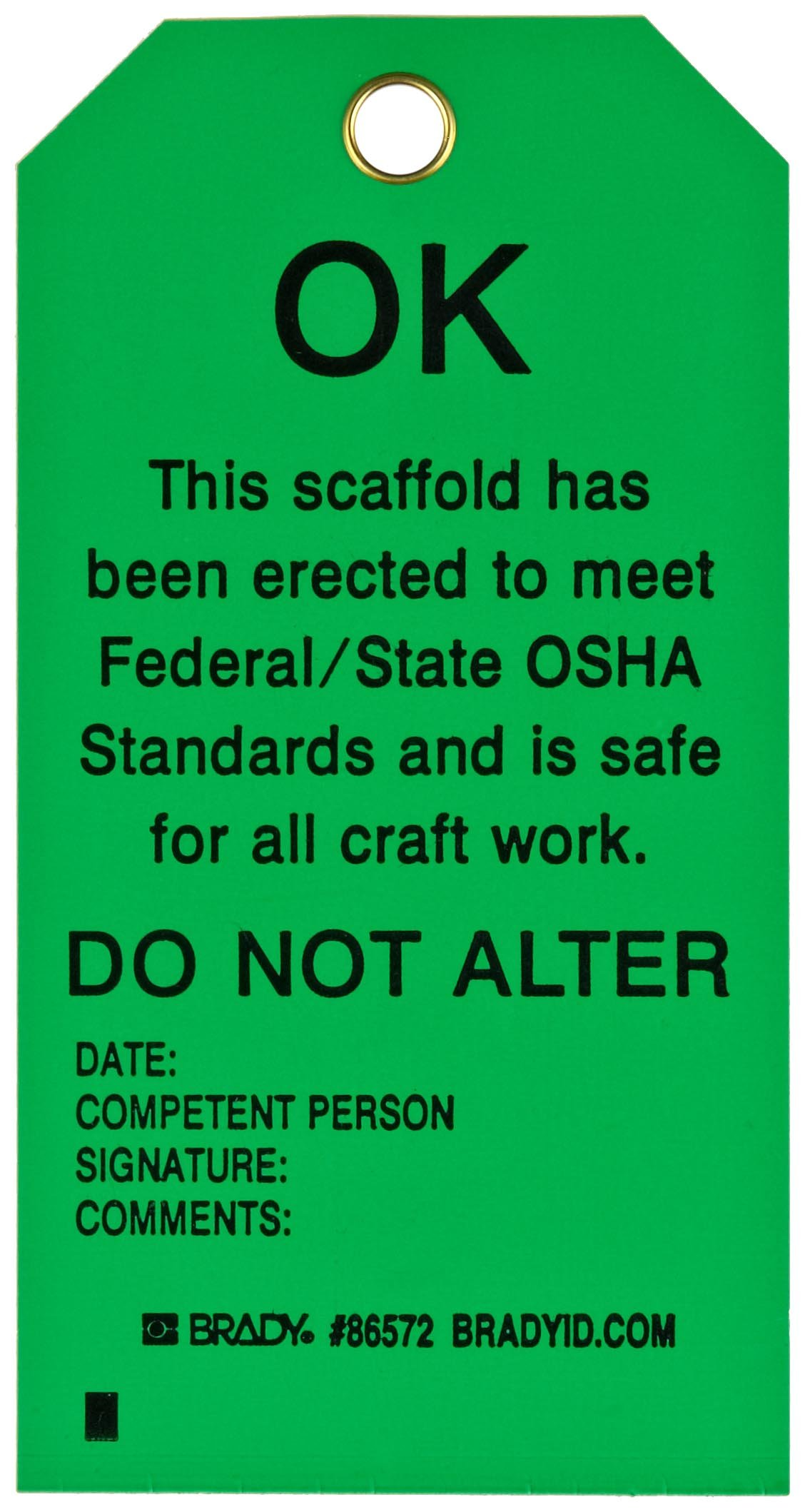 Brady 86572 5-3/4'' Height, 3'' Width, B-851 Economy Polyester, Black On Green Color Scaffolding Tag (Pack Of 10)