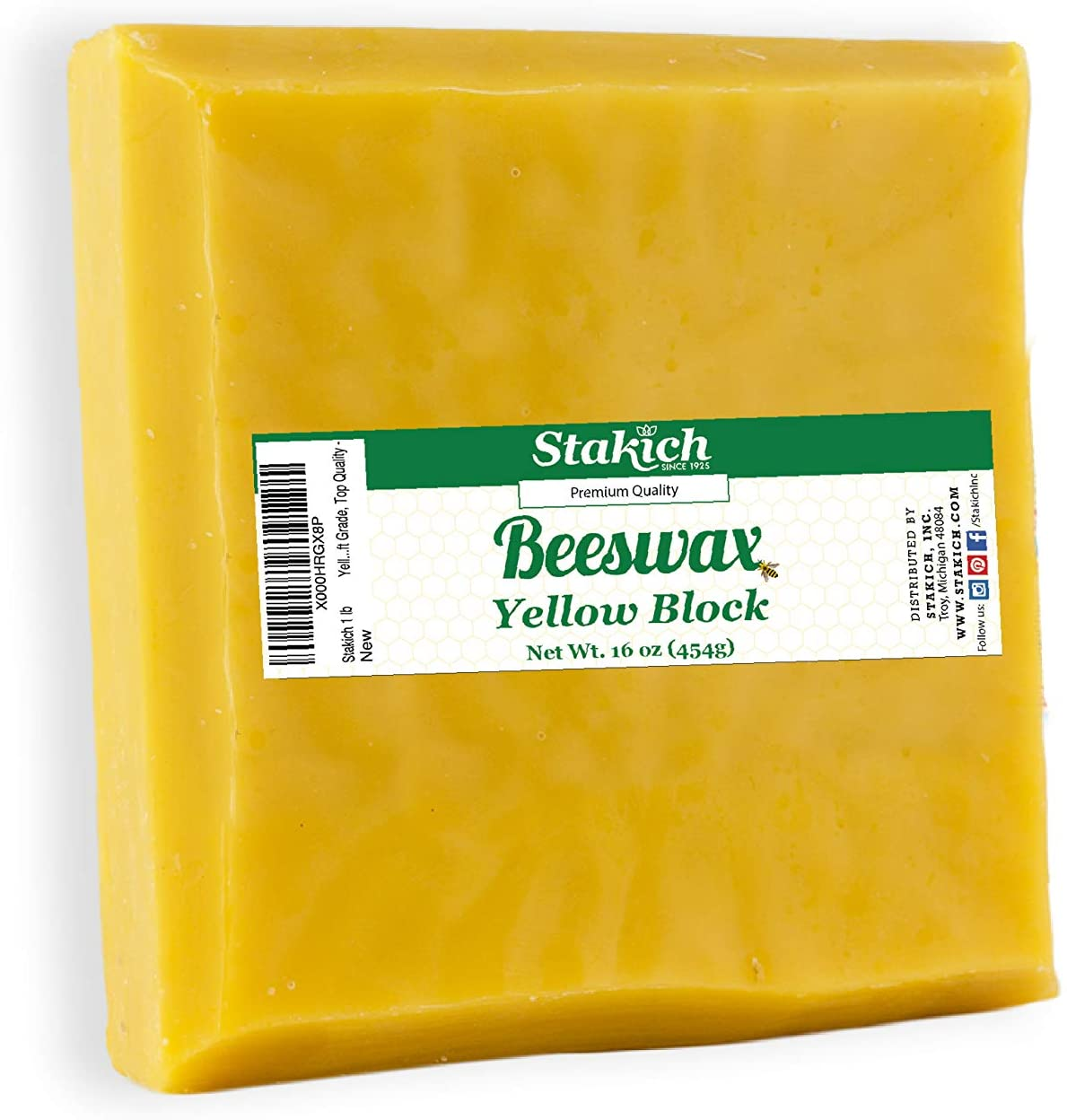 Stakich Yellow Beeswax Block - Natural, Triple Filtered - 1 Pound