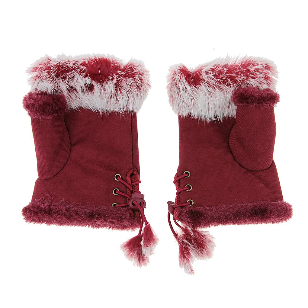 FakeFace Women's Rabbit Fur Trim Hand Wrist Warmer Fingerless Gloves