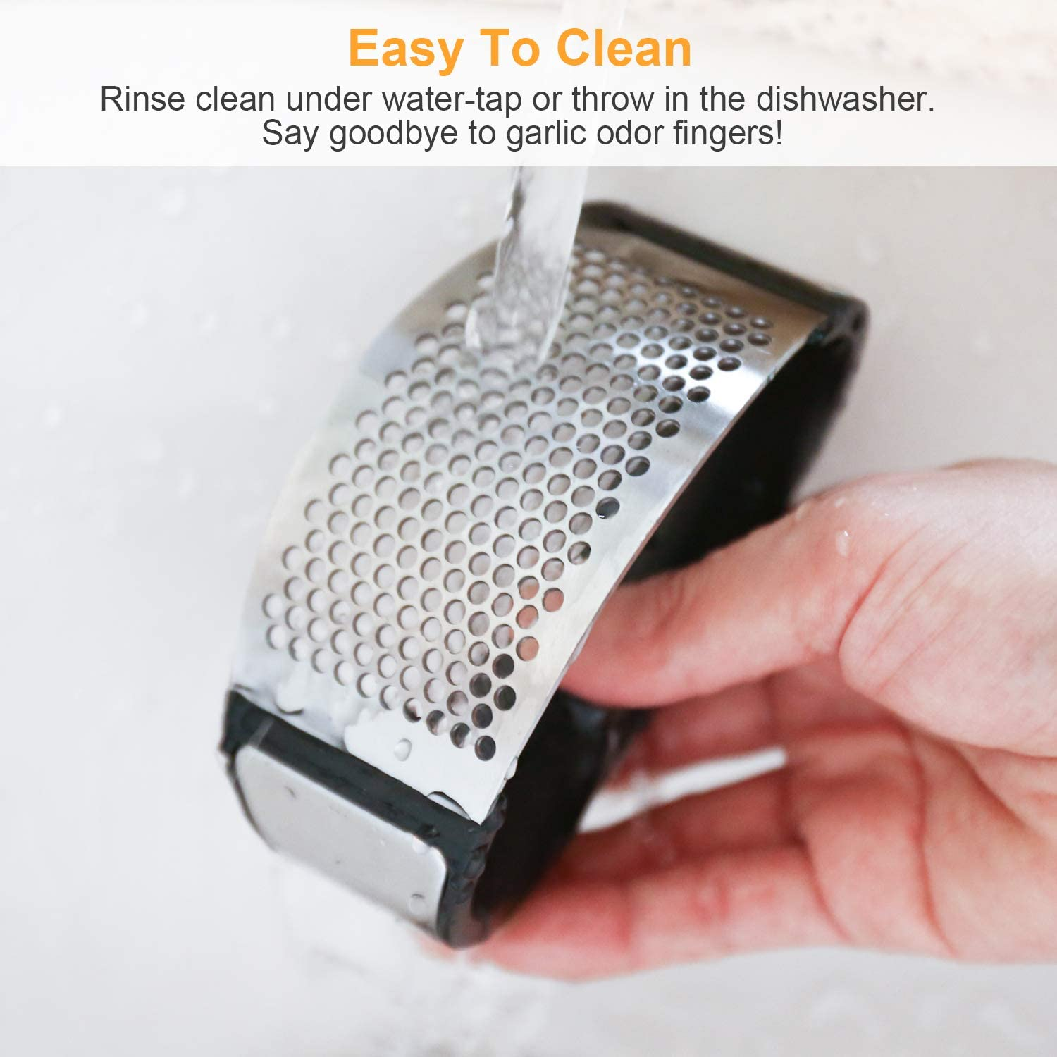 Metal Garlic Press with White coated paint Easy to clean.