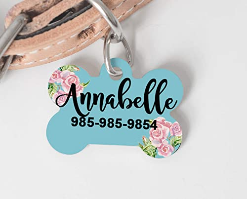 CAT FLOWER Custom Personalized Pet ID Tag for Dog and Cat Collars