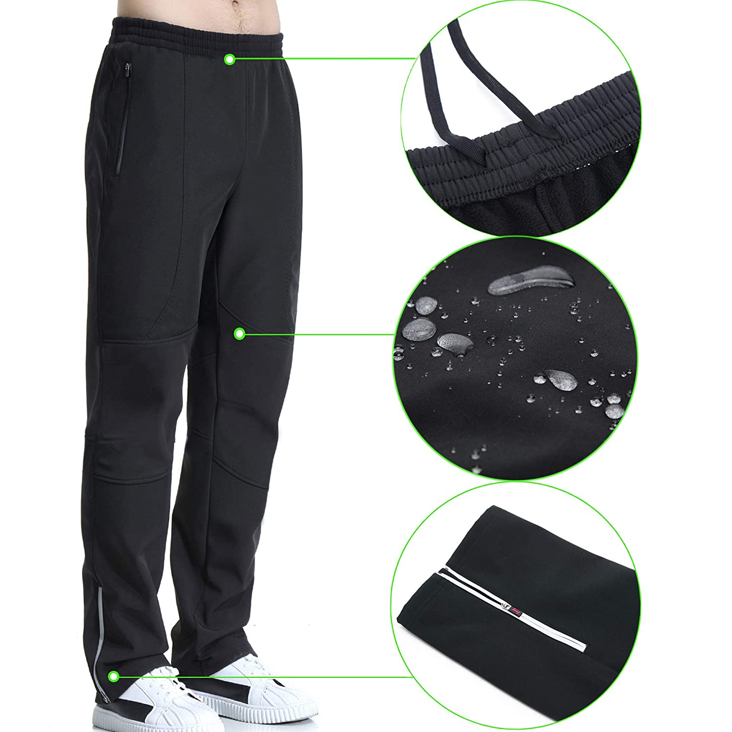 beroy Cycling Pants Windproof Thermal Fleece Workout Winter Pants for Men