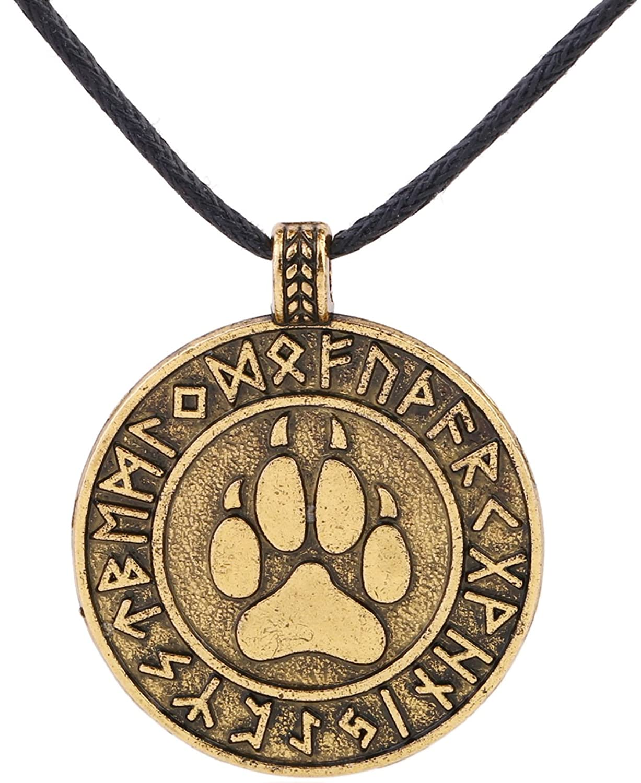 Pata de Animal Nordic runas encanto colgante collar joyería para regalo o recuerdo
