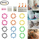 Soft Cat Nail Caps, Dadiii 120PCS Soft Claws Paws Nail Covers for Pet Cat and Dog to Protect Furniture 6 Colors + 6 Pcs Adhesive Glue and Applicators, Options of 3 Size