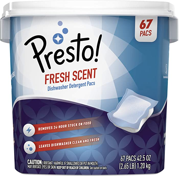 Amazon Brand - Presto! Premium Dishwasher Detergent Pacs, Fresh Scent, 67 count