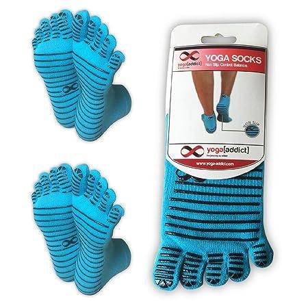 Calcetines antideslizantes para yoga con la forma de los dedos de la marca YogaAddict, Blue