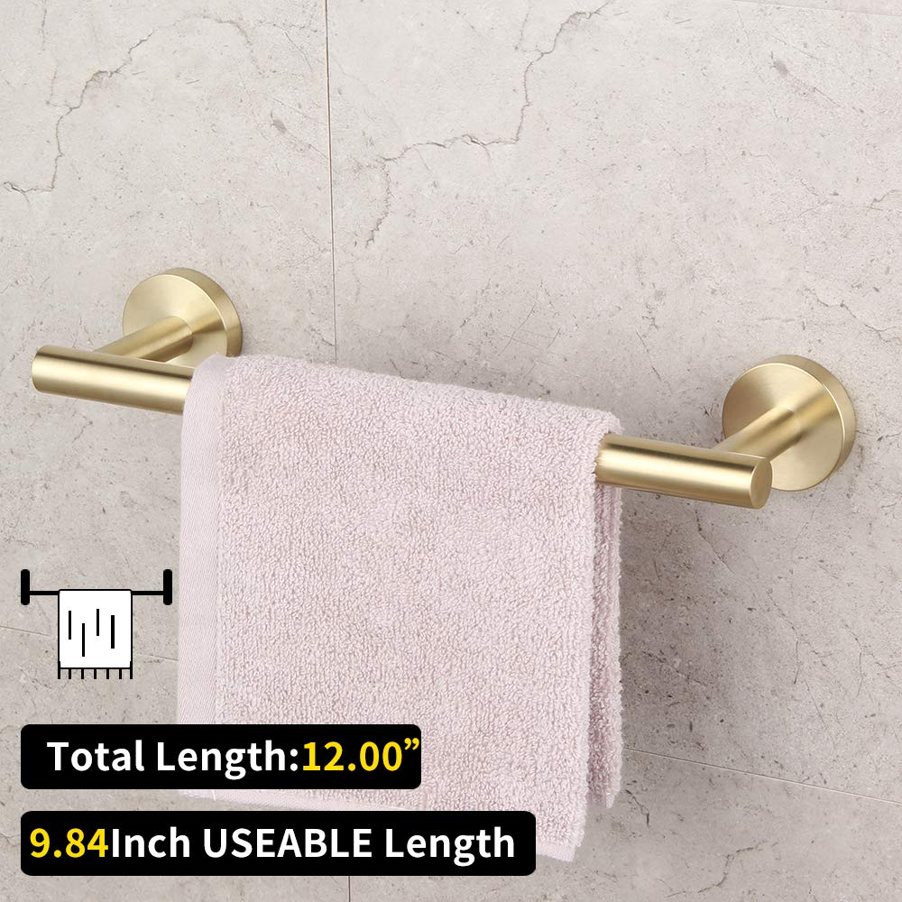 Bathroom Hardware Set 4 Pieces Brushed PVD Zirconium Gold SUS 304 Stainless Steel Bathroom Hardware Accessories Sets Wall Mounted Double Towel Bar Towel Holder Hook Toilet Paper Holder by GERZ (Image #4)