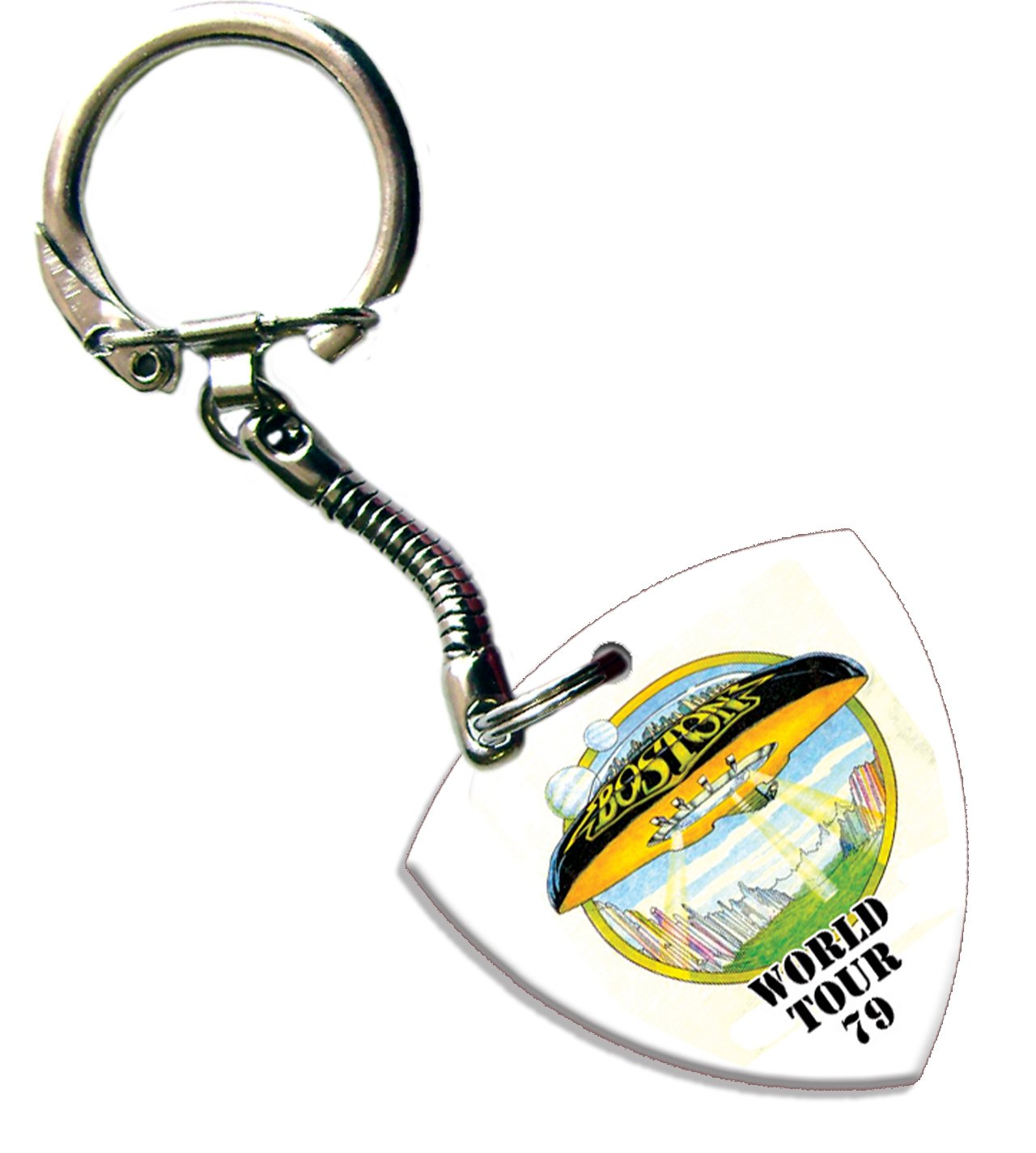 Boston Bass Pick Keyring Keychain Band Logo Plectrum