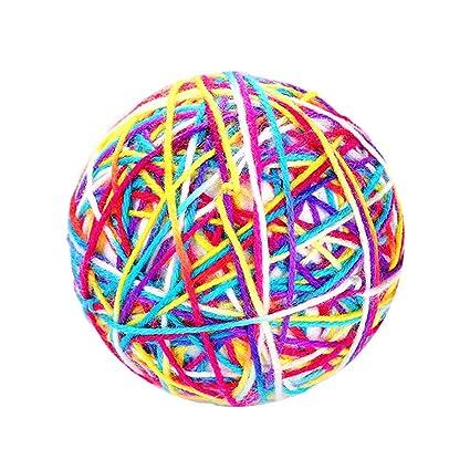 Pet Cat Ball Toy Colorful Handmade Bells Bouncy Balls Built-In Catnip Interactiv