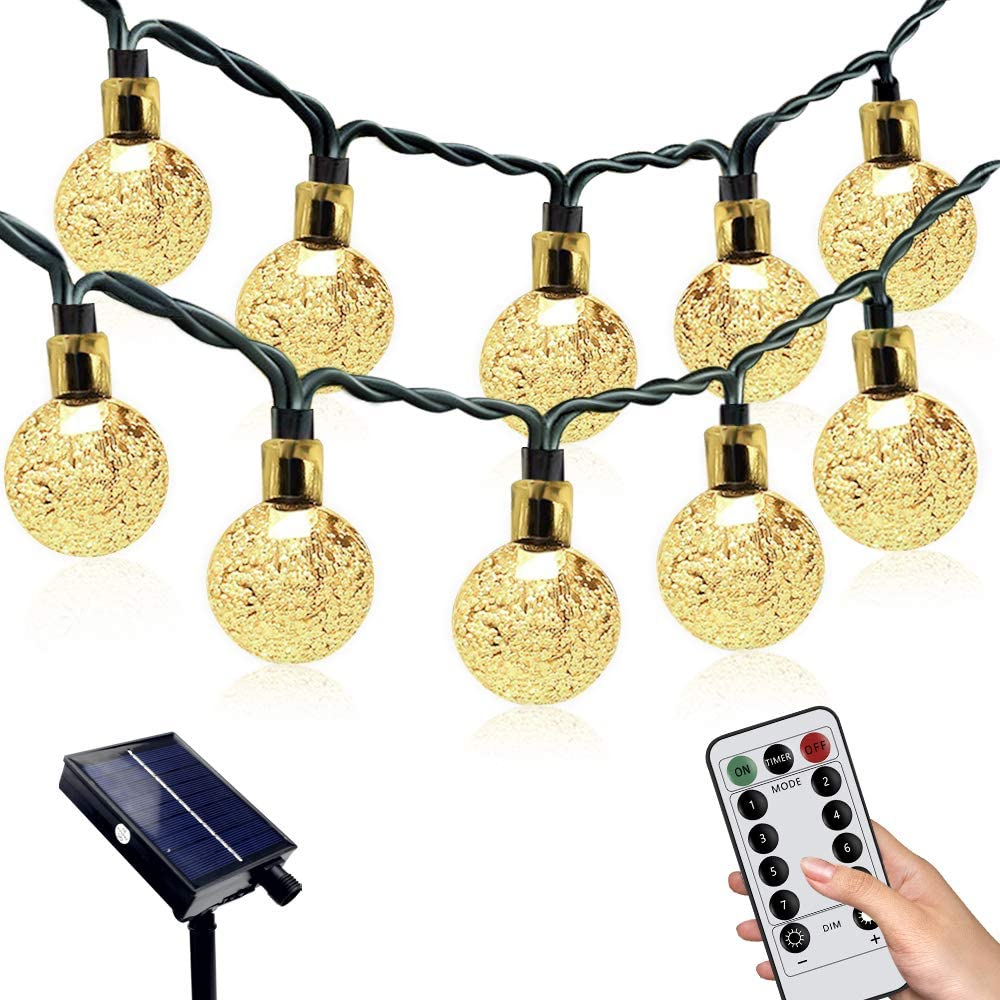 AILIKIWE Solar Globe String Lights, 24ft 50LED Fairy Lights Outdoor,8 Modes Crystal Balls Garden Lights Solar Powered Waterproof String for Patio,Yard, Bistro, Balcony Decor, Christmas,Warm White