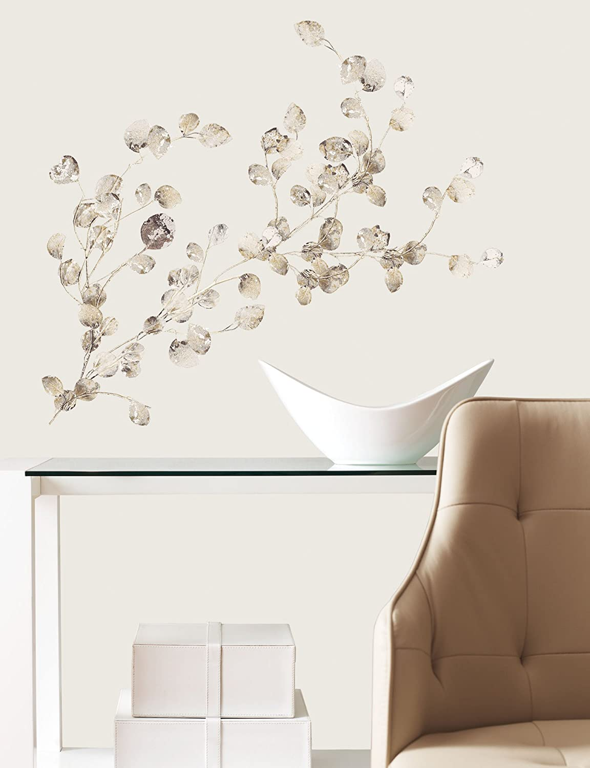 RoomMates RMKSCS Silver Dollar Branch Add On Peel And Stick - Wall decals leaves