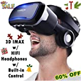 3D Virtual Reality Headset, Tsanglight 3D VR Glasses Viewer + Headphone for iOS iPhone 11 Pro/XR/XS/X/8/8+/7/7+/6/6S/6S+, Android Samsung Galaxy S10E/S9/S8/S7 Edge/S7/S6 & Other 4.0-6.0