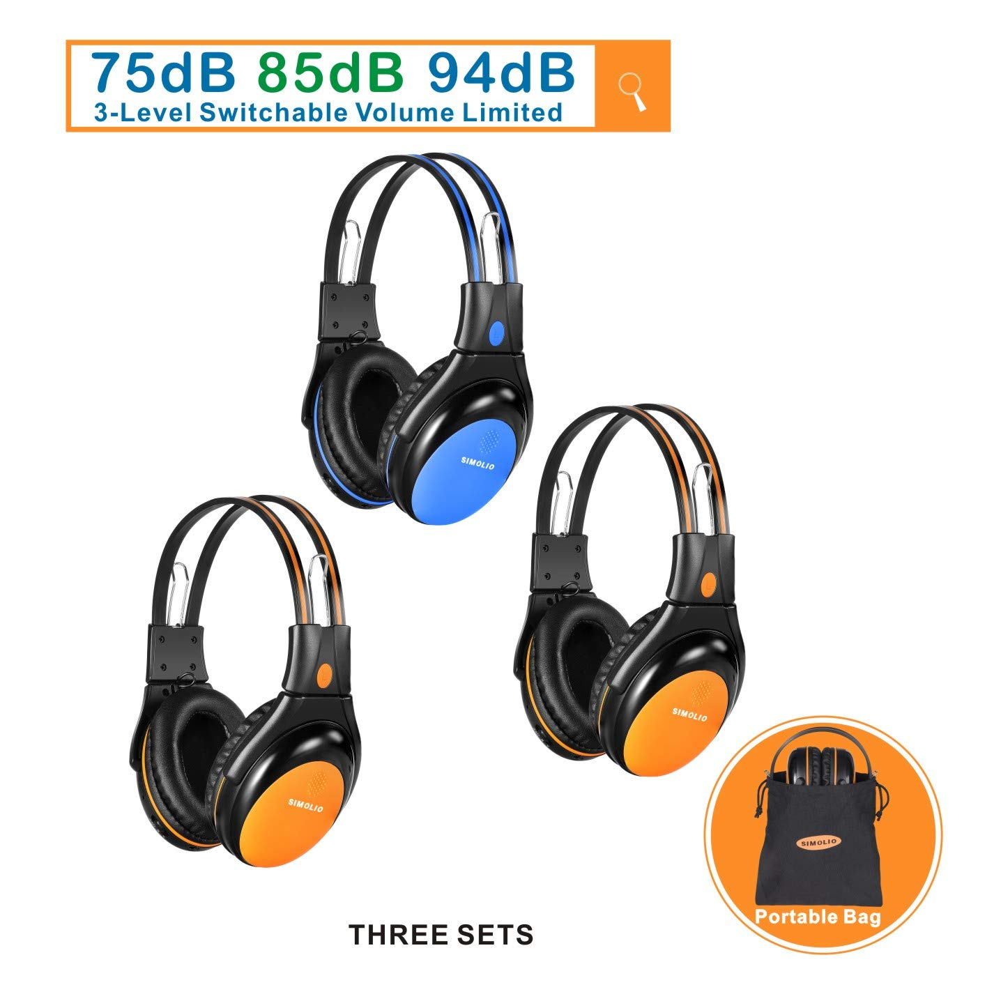 3 Pack of Car Wireless Headphones for Kids with 3 Levels Volume Limited, Infrared Wireless Car Headsets with Travelling Bag for Universal Car DVD, 2 Channel IR Headphones, Blue and Orange by SIMOLIO