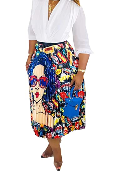 Marco Judy Women's Vintage Graffiti Cartoon Printed A Line Pleated Swing Midi Skirts by Marco Judy