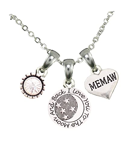 Memaw Clear Crystal Heart Silver Plated Chain Necklace Jewelry Family Gift