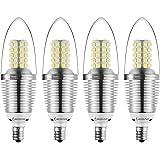 Bogao (4 Pack) LED Candelabra Bulb, 12W Daylight White 6000K LED Candle Bulbs, 85-100 Watt Light Bulbs Equivalent, E12 Candelabra Base,1200Lumens LED Lights,Torpedo Shape